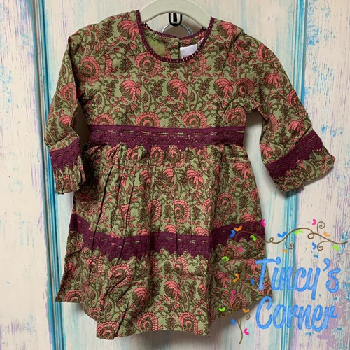 Olive Maroon Floral Dress