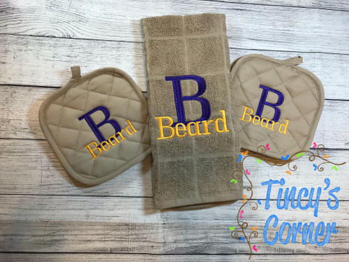 Initial w/Last Name Pot Holders and Dish Towel Set