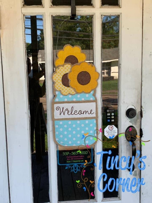 Mason Jar with Sunflowers Door Hanger X-Large