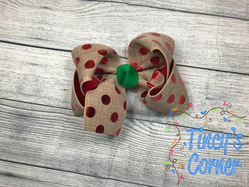 Linen Red Polka Dot w/Green Knot Boutique Hair Bow