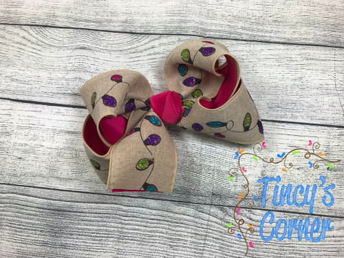 Linen Christmas Tree Lights Boutique Hair Bow