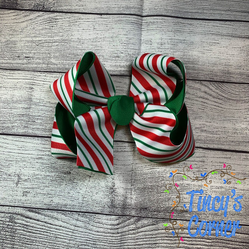 Candy Cane Stripes Boutique Hair Bow