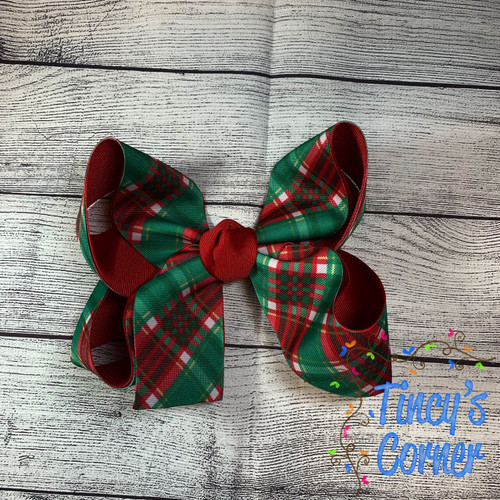 Christmas Tartan Boutique Hair Bow