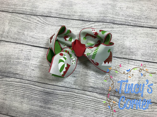 Glitter Christmas Elf Boutique Hair Bow