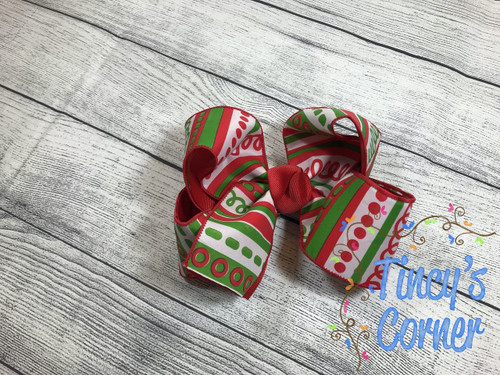 Christmas Candy Loop Boutique Hair Bow
