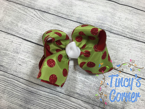 Glitter Red Polka Dots Christmas Boutique Hair Bow