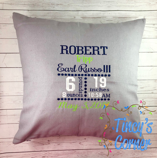 Baby Birth Stats Embroidery Pillow