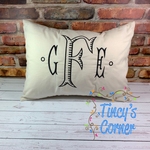 Monogram Embroidery Three Initial Pillow