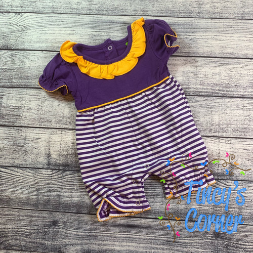 Purple/Gold and White Infant Girl's Romper