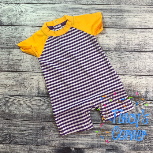 Purple/Gold and White Infant Boy's Romper