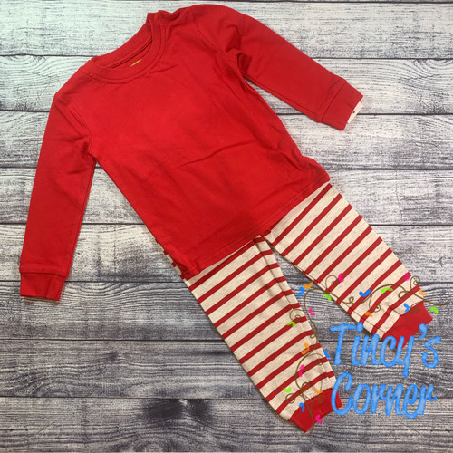 Red and Beige Christmas Infant Unisex PJ Set