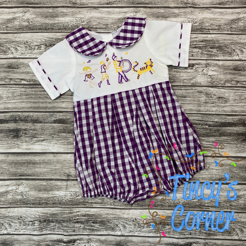Toddler Game Day Bubble in Purple and Gold
