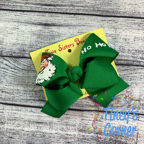 Santa Ho Ho Ho Green Boutique Hair Bow