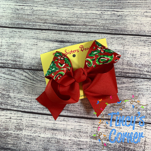 Vera Christmas Red Boutique Hair Bow