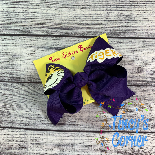 Happy Tiger Purple Boutique Hair Bow