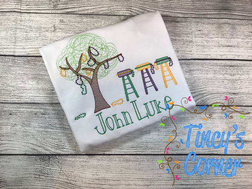 Mardi Gras Tree and Ladder Chairs T-Shirt