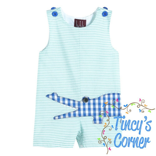 Aqua Striped Gingham Crocodile Applique Shortall