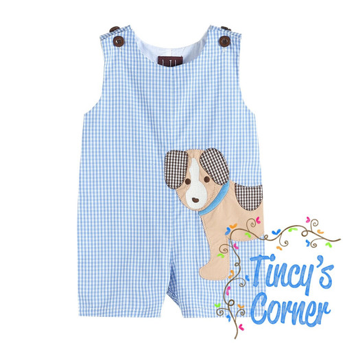 Blue Gingham Puppy Applique Shortall