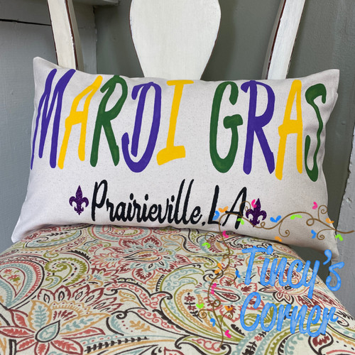 Mardi Gras Pillow w/City and State Name