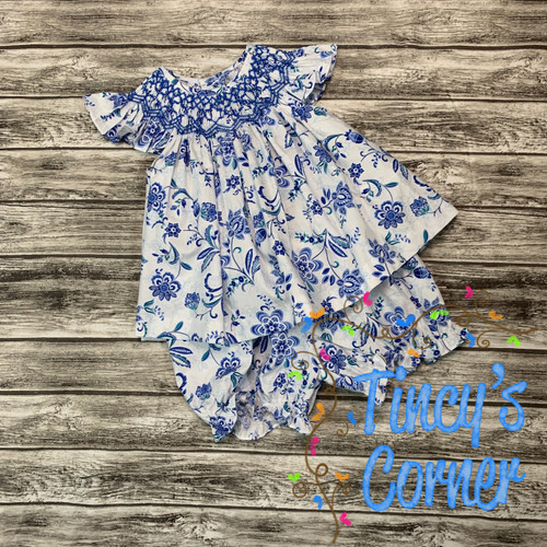 Royal Floral Smocked Flutter Sleeve Top w/Bloomers