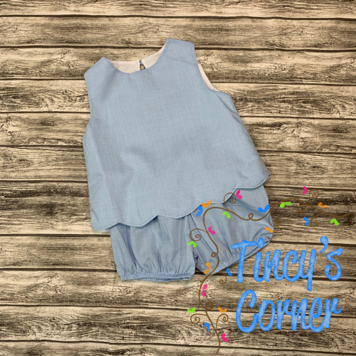 Lt. Blue Gingham Scallop Toddler Top w/Bloomers