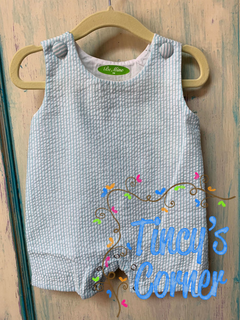 Boy's Mint Seersucker Infant Shortall