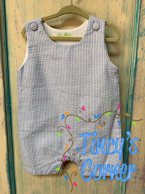 Boy's Lt. Blue Seersucker Infant Shortall
