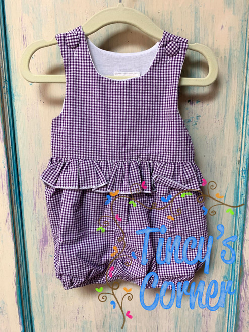 Girl's Purple Gingham Bubble