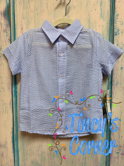Boy's Lt. Blue Seersucker Toddler Button Up Shirt