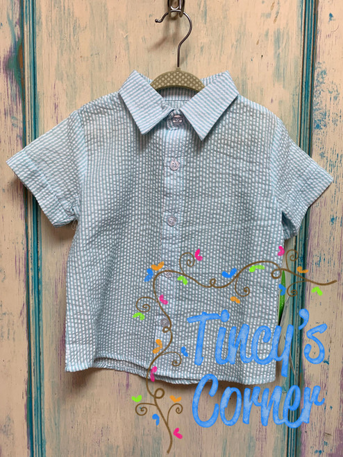 Boy's Aqua Seersucker Toddler Button Up Shirt