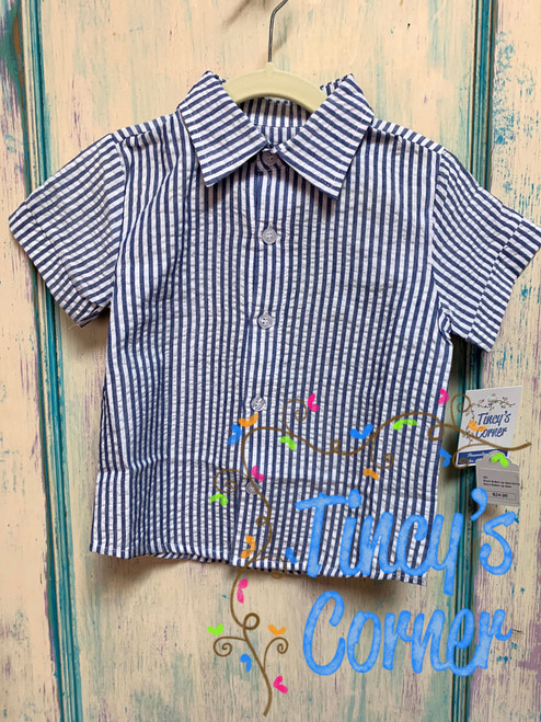 Boy's Navy Seersucker Toddler Button Up Shirt