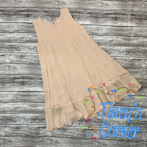 Girl's Sleeveless Blush Linen Dress