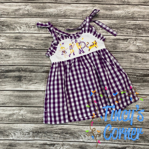 Tiger Game Day Tie Strap Dress in Purple and Gold