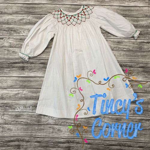 Long Sleeve White w/Red Smocked Dress