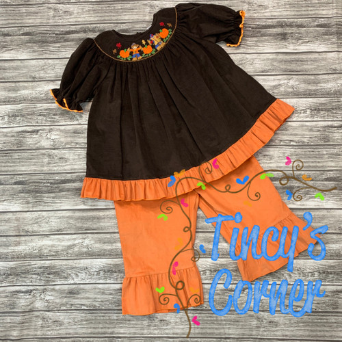 Corduroy Smocked Pumpkins and Scarecrows Top and Pants