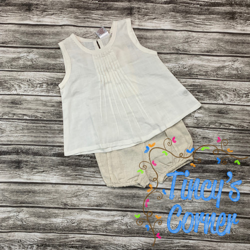 Girl's Infant Linen Top with Bloomers