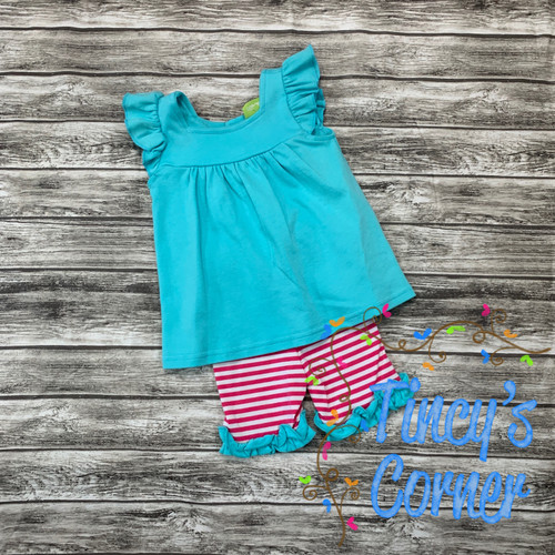 Girl's Turquoise Top with Biker Shorts Set