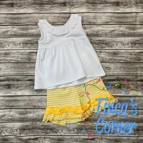 Girl's White Top with Yellow Stripe Ruffle Shorts Set