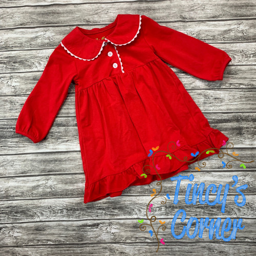 Girl's Infant Red/White Christmas Gown