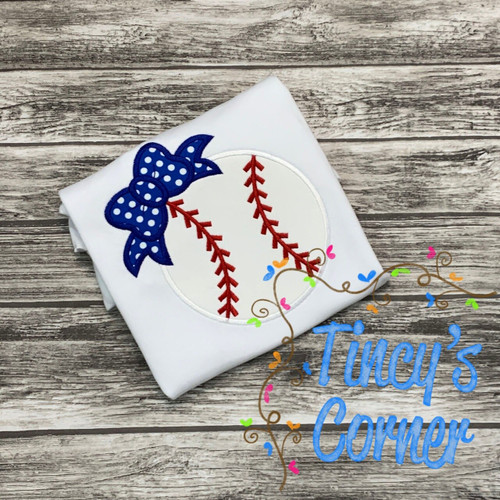 Baseball with Hairbow Applique