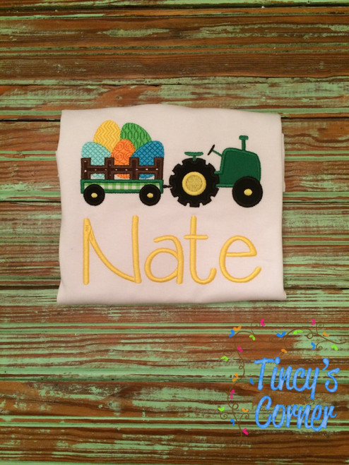 Tractor Wagon with Easter Eggs Applique