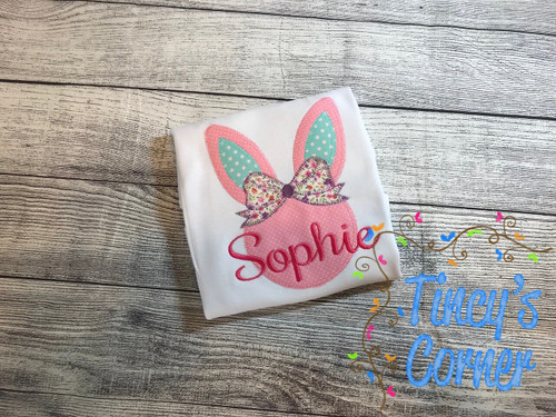 Easter Bunny with Bow Applique
