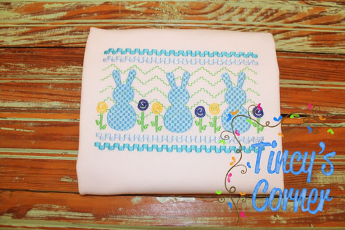 Faux Smocked Boy Bunny Embroidery