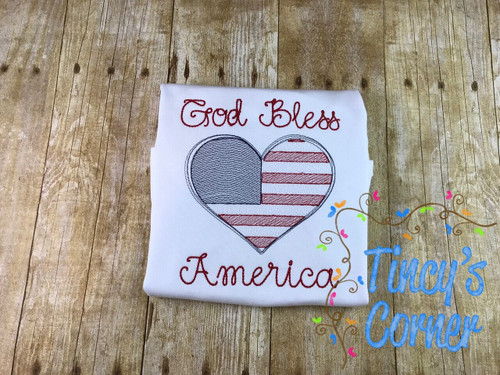 God Bless America Heart Embroidery
