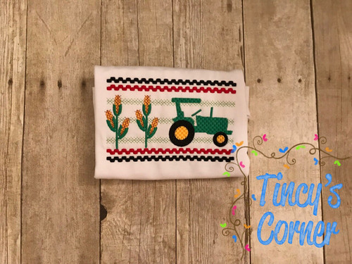 Faux Smocked Tractor Embroidery