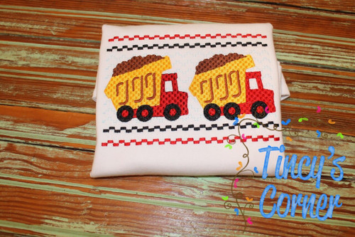 Faux Smocked Dump Truck Embroidery