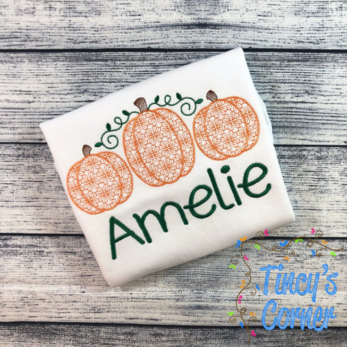 Pumpkin Trio Motif Stitch Embroidery