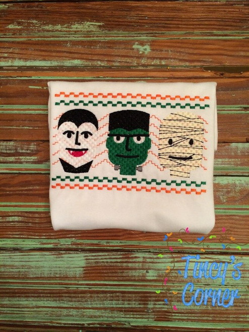 Faux Smocked Monsters Embroidery