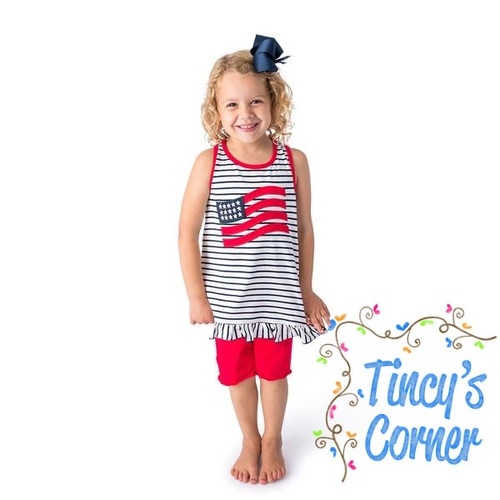 Flag Applique Girl's Short Set