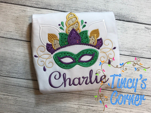 Mardi Gras Unicorn Mask Applique